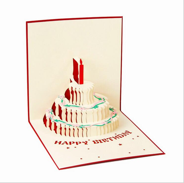 New 3d cake happy birthday pop up cards Wedding Gift greeting card – Happy Birthday Pop Up Cards