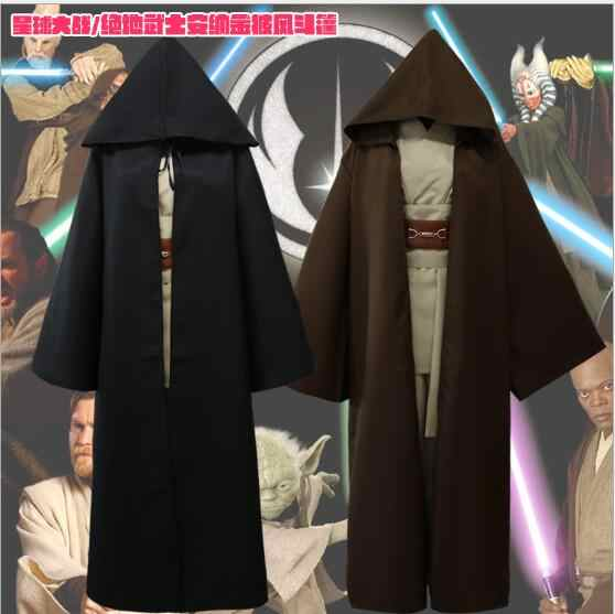New Arrival Star Wars Jedi เครื่องแต่งกายผู้ใหญ่สีดำ Jedi Robe Cloak Hoodie ชาย Star Wars Darth Vader Halloween Cosplay เครื่องแต่งกาย