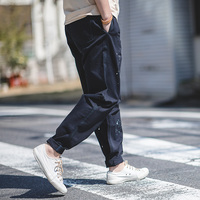 Men's Casual Vintage  Loose Fit Wide Leg Cotton Cargo Pants With Paint Splashing Dark Blue
