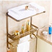 Classical Antique Brass Bath Shelf Wall Mounted Storage Holder