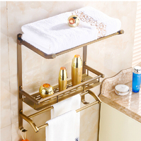 Classical Antique Brass Bath Shelf Wall Mounted Storage Holder