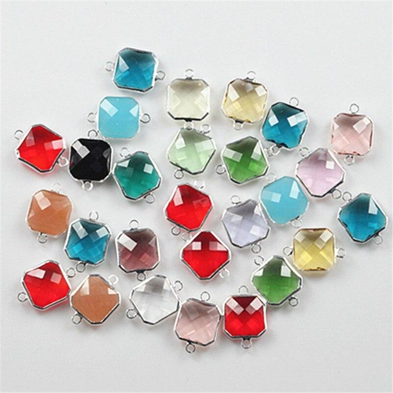 50 pcs/lot 14x14mm carré facettes perles de verre de cristal pour bricolage bijoux à breloques faisant