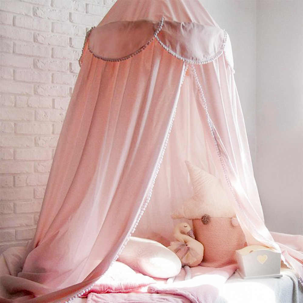 Tassel Pompom Mosquito Net Baby Bed Canopy Net Bedhemel Baldachin Curtains BabyCamping Bed Girls Room Decor Kids Canopy for Bed