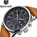 Benyar hombres reloj superior de la marca de lujo de cuero masculino impermeable del cuarzo del deporte del cronógrafo militar reloj hombre reloj montre homme