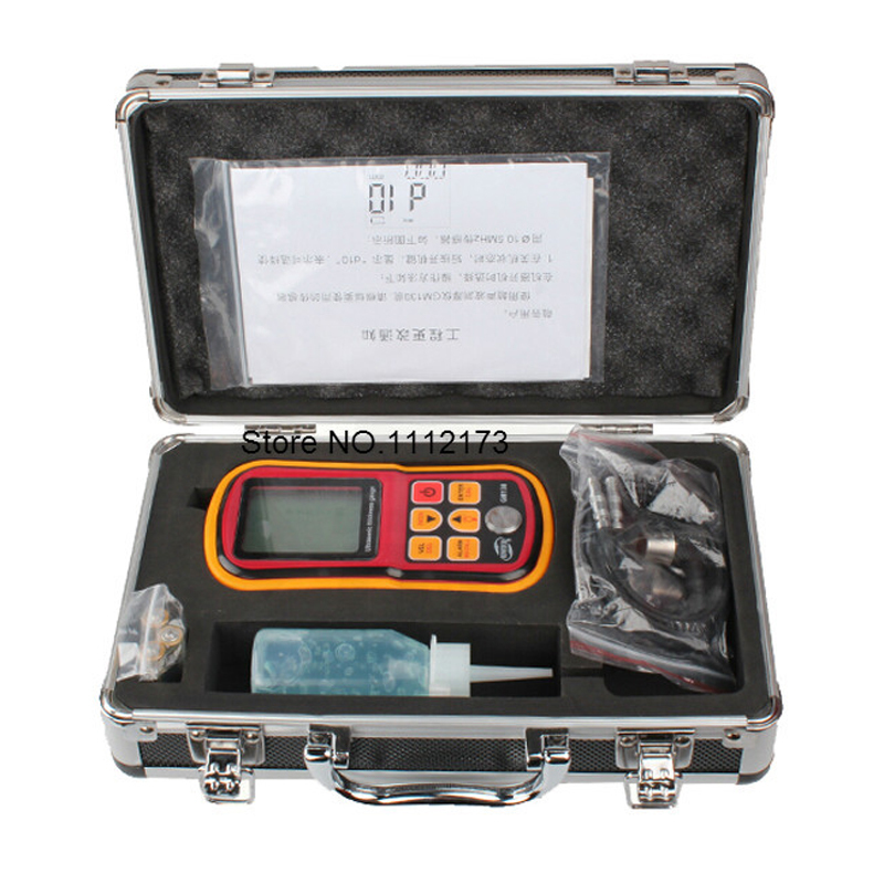 GM130 Digital Ultrasonic Thickness Gauge tester steel thickness tester 1.0 to 300MM Sound Velocity Meter with Carry Box  цены