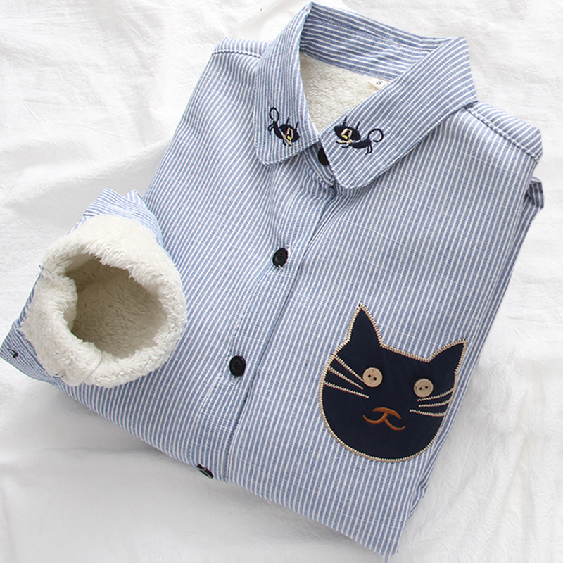 Casual Women's Long Sleeves Fleece Blouse Cartoon Cat Embroidery Cotton Shirt Solid Color Shirt 2018 Winter Female Fashion