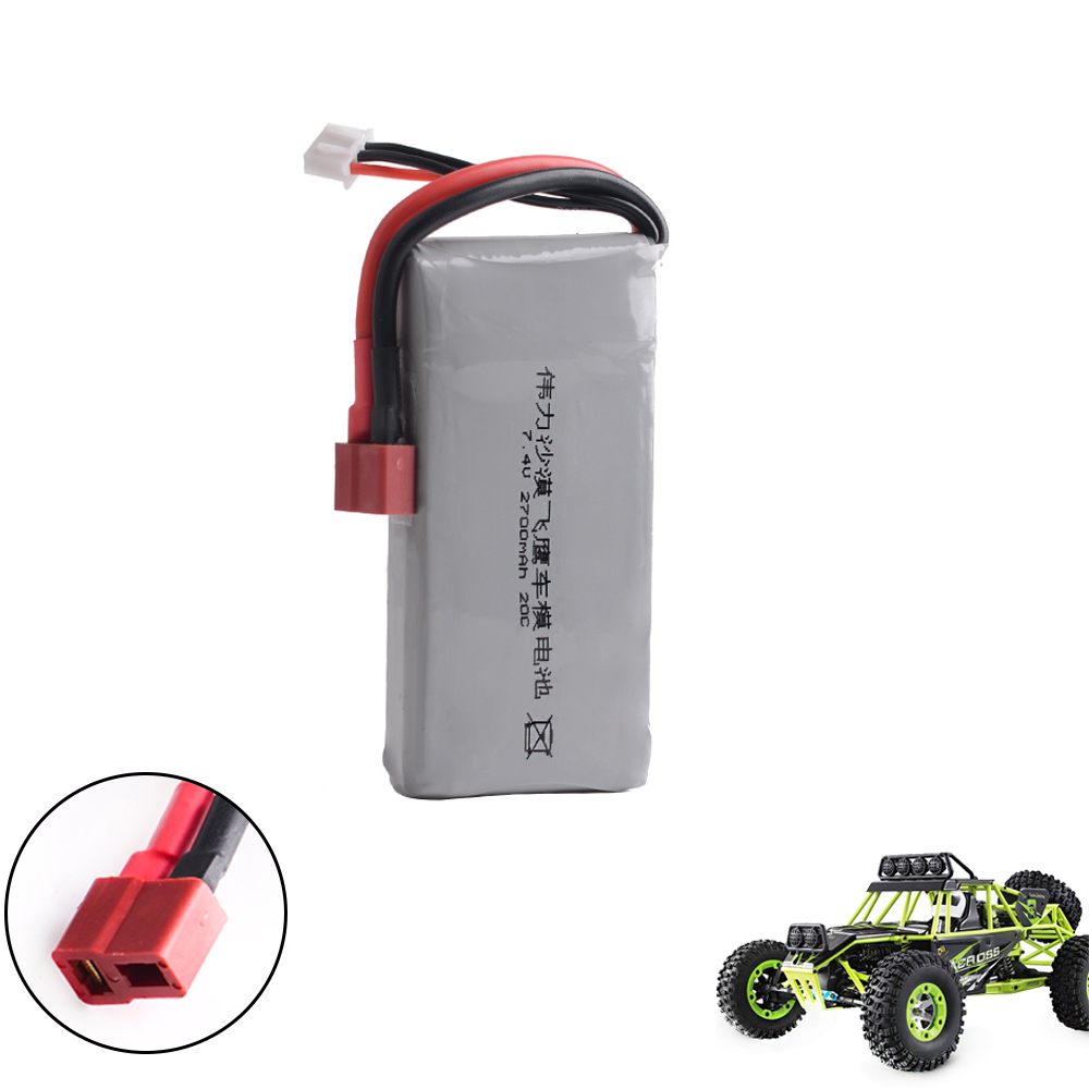 Rc Lipo Battery 2S 7.4V 2700mah 20C Max 30C for Wltoys 12428 12423 1:12 RC Car Spare parts wltoys 12428 12423 1 12 rc car spare parts 12428 0091 12428 0133 front rear diff gear differential gear complete