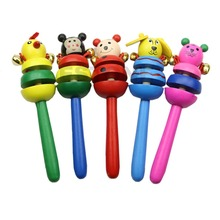 1 PC Bell Toy Kid Handbell Musical Education Instrument Cartoon Animal Wooden Rattles