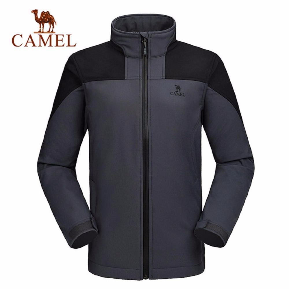 Camel Outdoor Men's Soft Shell Jacket Waterproof Windproof Hooded Hiking Coat A6W218113 lurker shark skin soft shell v4 military tactical jacket men waterproof windproof warm coat camouflage hooded camo army clothing