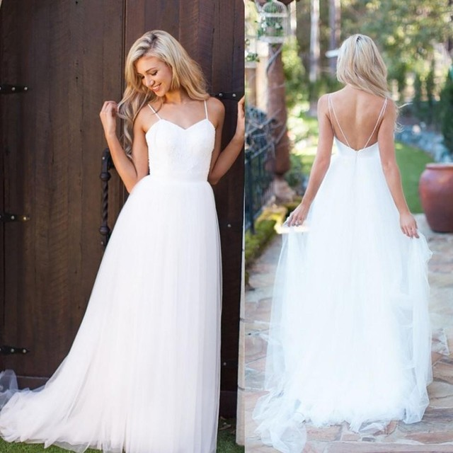 Simple White Tulle Long Boho Beach Wedding Dresses Sexy Backless Spaghetti  Straps Bohemian Bridal Gown vestido branco 4313a0a91221