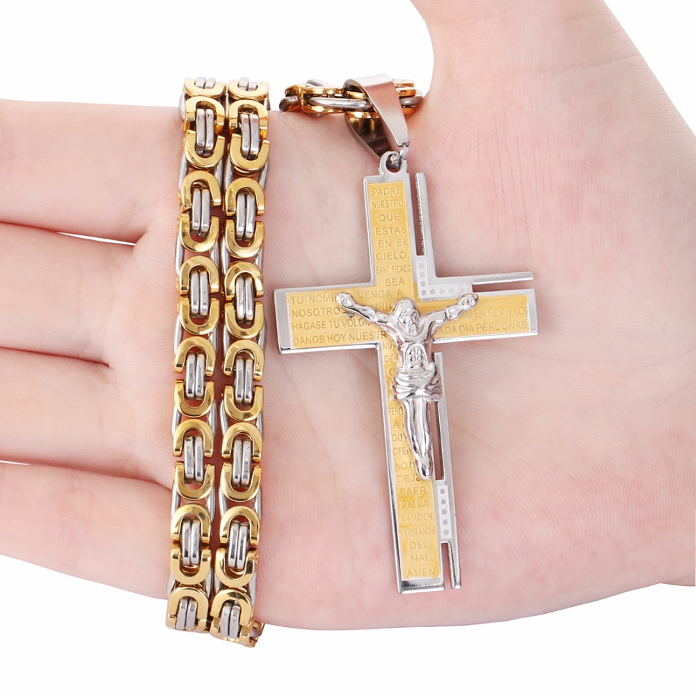 Christian Bible Pendant Necklace Virgin Mary Jesus Cross Gold Color ...