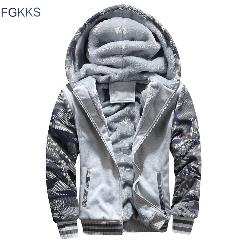 FGKKS Men Fashion Cardigan Hoodies Autumn Winter Men's High Quality Cardigan Camouflage Sweatshirt Male Casual Hoodies