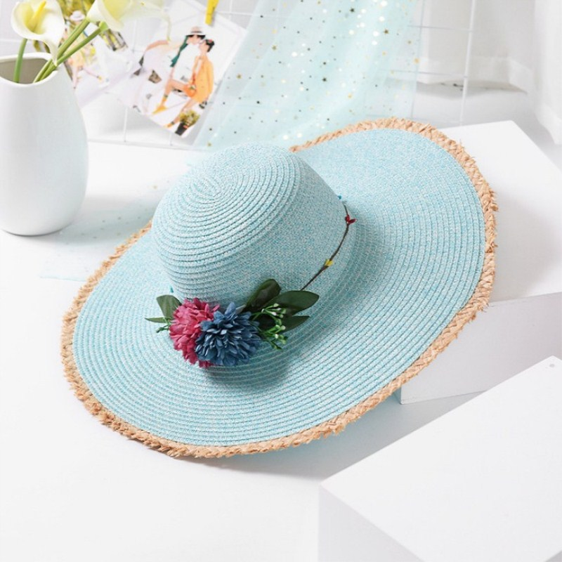 2018 Fashion women Hat Lady Wide Large Brim Floppy Summer Beach Sun Straw Hat Cap with flower Free Shipping