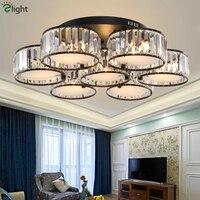 American RH Crystal Chandelier Lustre Led Chandelier For Living Room Minimalism Metal Ceiling Chandelier Lighting For Bedroom