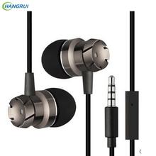 HANGRUI Turbo In Ear Earphone Metal Worm Gear Bass Stereo Headset Portable fone de ouvido with Mic For iphone xiaomi Smartphone
