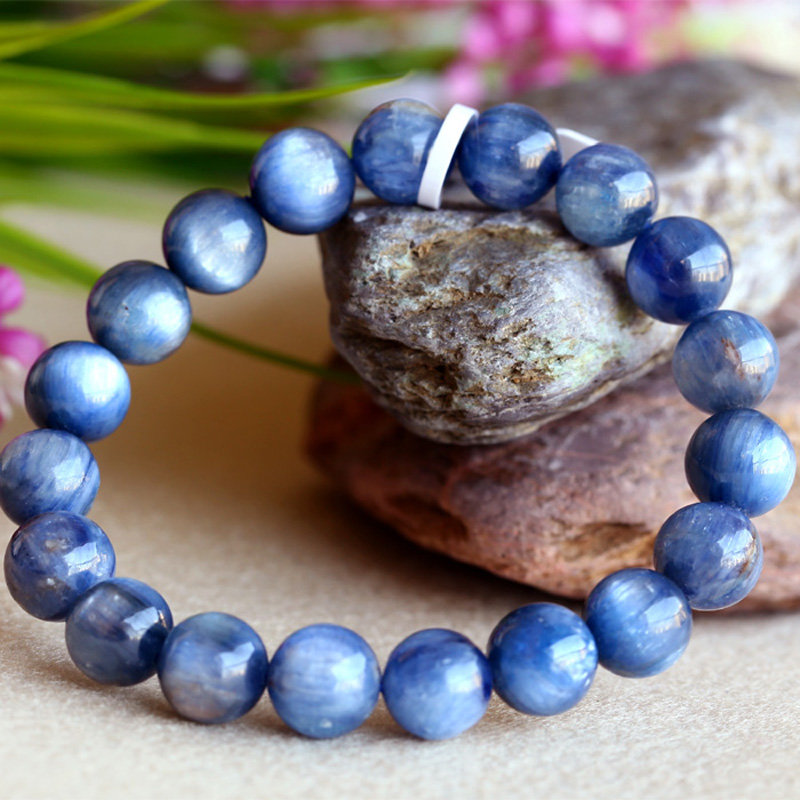 Wholesale Natural Genuine Blue Kyanite Men Stretch Finish Bracelet Round Beads Wholesale Natural Genuine Blue Kyanite Men Stretch Finish Bracelet Round Beads
