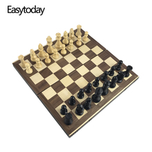 Easytoday Solid Wooden Chess Game Set Folding Wood Board High Quality Pieces Entertainment Gifts