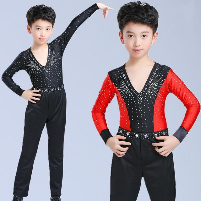 38e237931 2018 Children's Latin Dance black uniforms Suit Diamond Latin Dance samba  Kids Boys Latin Ballroom Performance dancewear tango