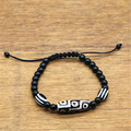 Handmade 9 eye Dzi bead Bracelet Natural Agate Materials Black Color For Men and Women Jewelry Adjustable Length Great Quality