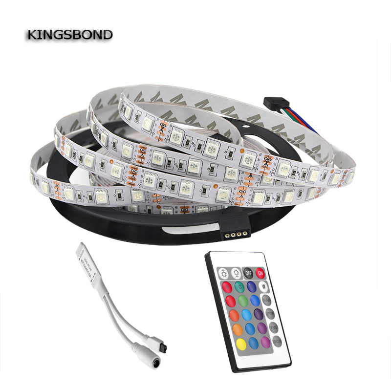 RGB LED strip light 5050 5m 300 LED (60LED/m) DC12V Color Changing + 24 Keys IR Remote Controller