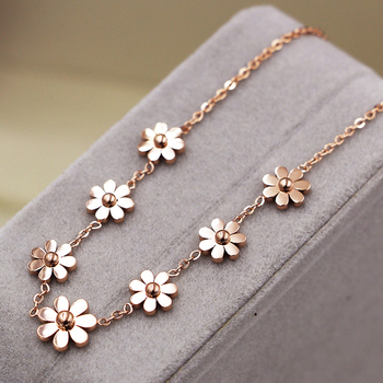 New Titanium Steel Brand Jewelry 7 Daisy Anklets For Women Rose Gold Color Fashion Prevent Allergy Summer Jewelry 3