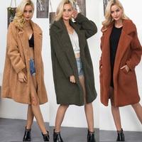 Plus Size Women Fur Faux Long Coats 2018 Winter Fluffy Shaggy Long Fur Coat Fashion Thick Warm Jacket Outwear Fur Open Stitch