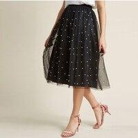 Elegant Black Pearl Midi Tulle Skirts Women High Quality Knee Length Soft Tulle Skirt Custom Made