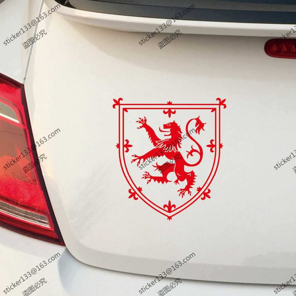 Design your car sticker - Coat Of Arms Of Scotland Scottish Lion Car Decal Sticker Red Choose Your Size