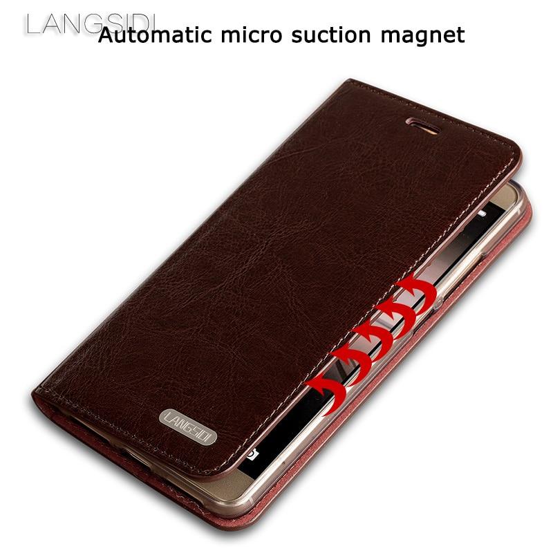 Wangcangli pour Xiao mi mi 5c coque de téléphone huile cire peau portefeuille flip Stand titulaire fentes pour cartes étui en cuir pour envoyer un film de verre de téléphone - 3