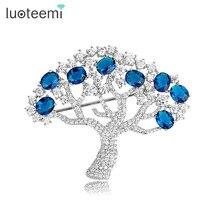 Luoteemi 2015 apple tree broche para las mujeres de lujo de novia de la boda accesorios broche de joyería lleno circonita ajuste del diente