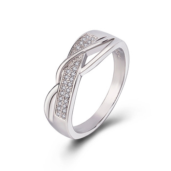 Size 6 7 8 9 10 Gifts Engagement High Quality Valentine Present Rings Silver Women Crystal Golden 1PC Hot Sale Cross Seaside 7