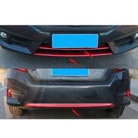 3 шт. углеродного волокна красный, пригодный для HONDA CIVIC 2016 2017 передний и задний бампер Гриль Крышка