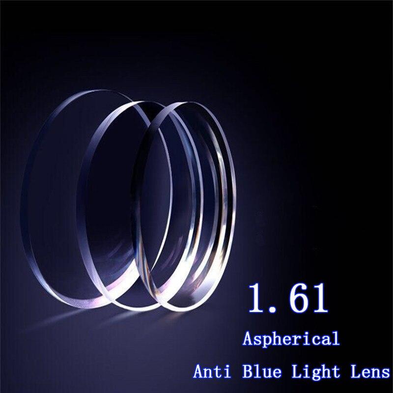 1.61 lentille de blocage de la lumière bleue Progressive intérieure asphérique durcir la lentille de résine de revêtement lentilles de verres de Prescription sur mesure