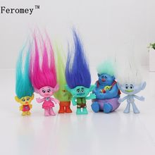 6Pcs/Set Trolls Toys Action Toys Branch Critter Skitter Figures Trolls Children Action Figure Toy Birthday Gift(China)