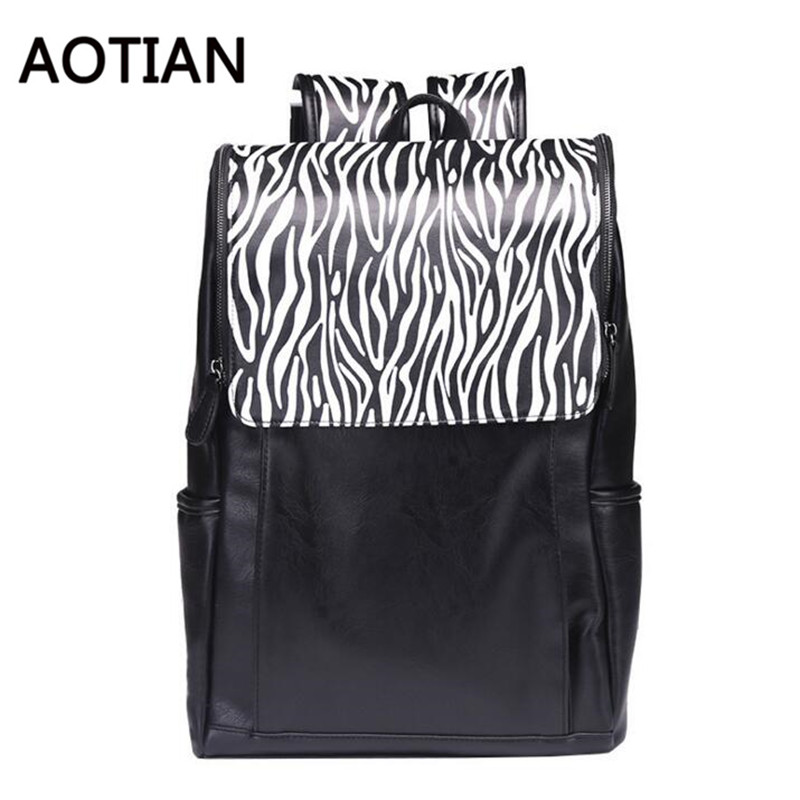 2017 New AOTIAN Backpack Multifunction Rucksack Large Capacity Backpack Zebra Pattern School Plecak High Quality PU Leather fashion free shipping just hype pattern back to school backpack mochila batoh plecak