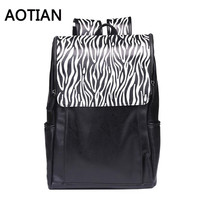 2017 New AOTIAN Backpack Multifunction Rucksack Large Capacity Backpack Zebra Pattern School Plecak High Quality PU Leather