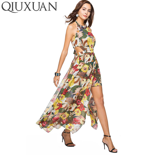 9376348f3bdc3 US $18.47 35% OFF|QIUXUAN Bohemian Style Women Maxi Dress Summer Fashion  Floral Printed Fit and Flare Dress Lace Up Back Cutout Halter Dress-in ...