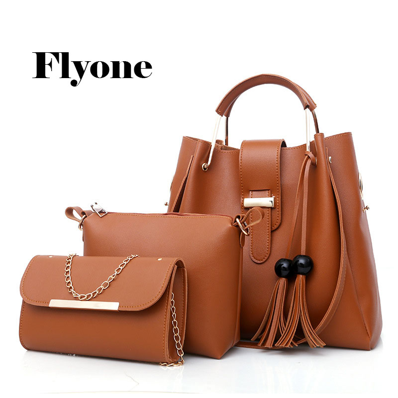 Flyone luxury women handbags design bolsa feminina 3pcs composite bags ladies PU leather handbag shouder bag messager bags ...