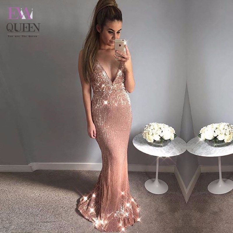 Tobinoone V Neck Mermaid Long Dresses Female Sequined In The Floor Sexy Maxi Dress Party Elegant Black 2018 Summer Vestidos