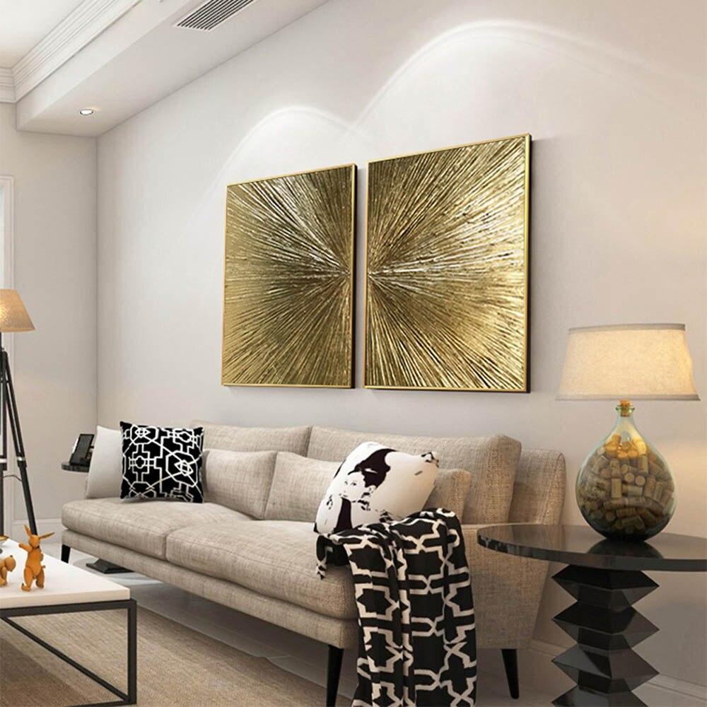 Ev ve Bahçe'ten Resim ve Hat'de Güzel tasarım el boyama duvar sanatı altın çerçeve 80cm'da  Grup 2