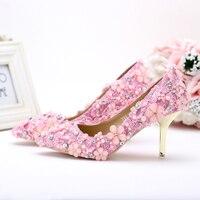 2016 Precioso Emmy Toe de tacón alto Zapatos de Novia de Color Rosa Perla de Encaje de La Boda Señalaron Los Zapatos de La Madre de La Novia vestidos de Fiesta Zapatos de baile