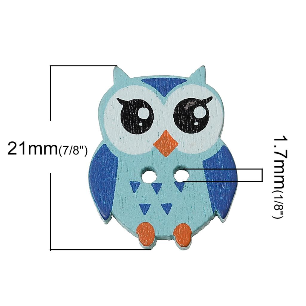 "DoreenBeads Wood Sewing Button Scrapbooking Owl Mixed Two Holes 21mm(7/8"")x 17mm(5/8""),8 PCs 2015 new"