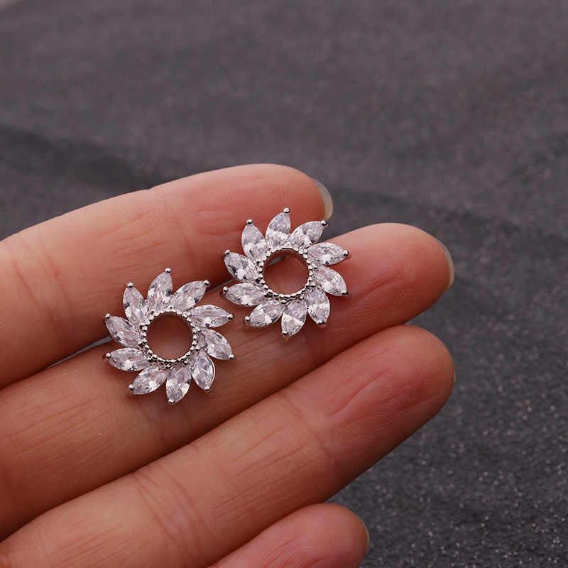 Sellsets серебро и золото Цвет Cz цветок свадебные серьги-гвоздики с кубическим цирконием, обувь для невесты, подружки невесты свадебные серьги Свадебные украшения