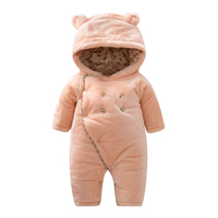 Autumn Winter Baby Clothes Flannel Baby Boy Clothes Cartoon Animal 3D Ears Hooded Romper Warm Jumpsuit Newborn Infant Outwear