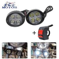 Sclmotos 2pcs Universal Motorcycle LED Headlight Mirror Mount Spotlight Driving Fog Spot Head Light Lamp Side