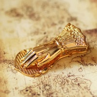 Limited! Lady's Hand Vintage Punch Clip Hand shaped Book Clip Metal Gold plated Sleeve