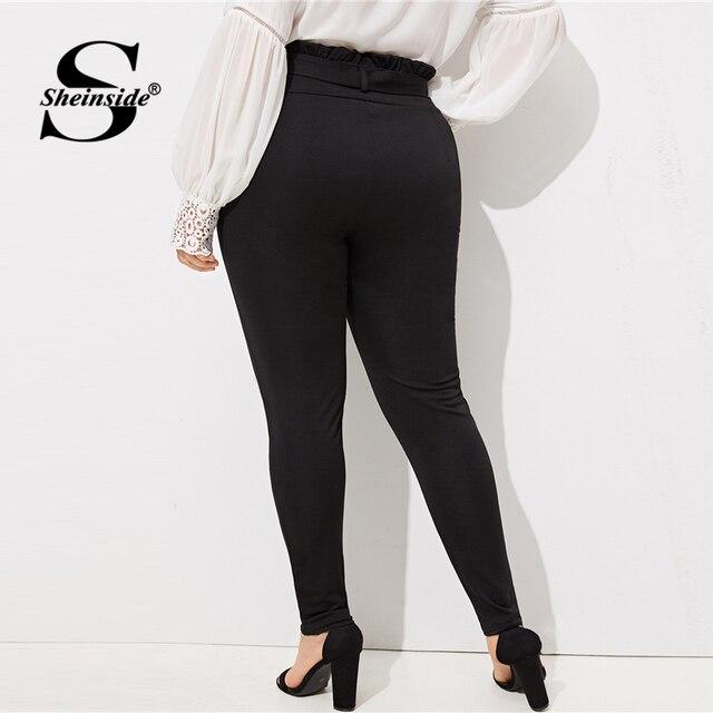 Sheinside Plus Size Elegant Pleated Waist Skinny Pants Women 2019 Spring Mid Waist Belted Trousers Ladies Casual Carrot Pants 1