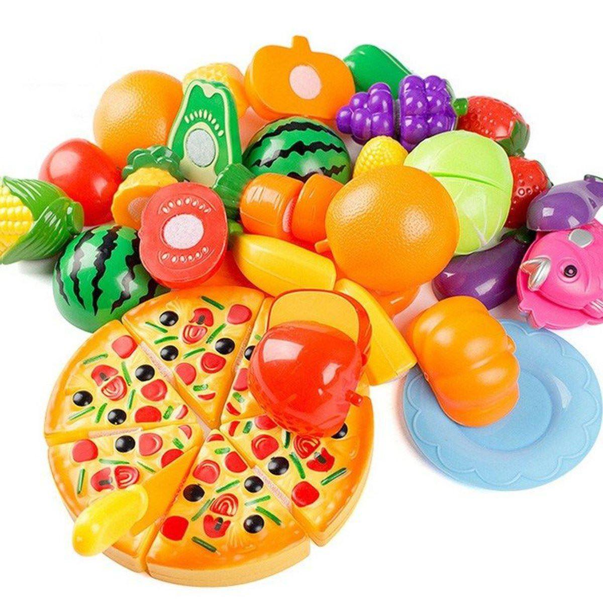 24pcs Set Kitchen Pretend Play Toys Vegetable Fruits