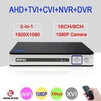 Silver White Color 1080P 2MP Full HD Hi3521A 16CH 8CH 5 In 1 WIFI Hybrid Onvif