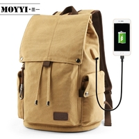 MOYYI Men's Backpack Vintage Canvas Backpack School Bag Men's Travel Bags Large Capacity Travel Laptop Backpack Bag